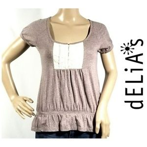 BOGO Delia's Crochet Short Sleeve Peplum Top